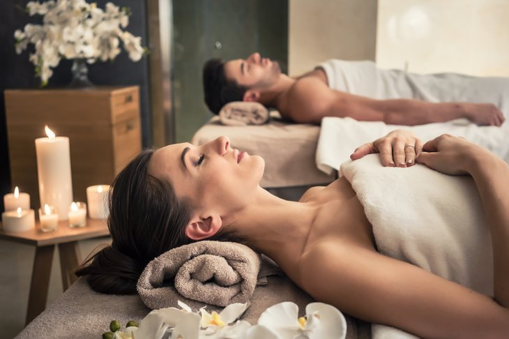 Woman and man in spa