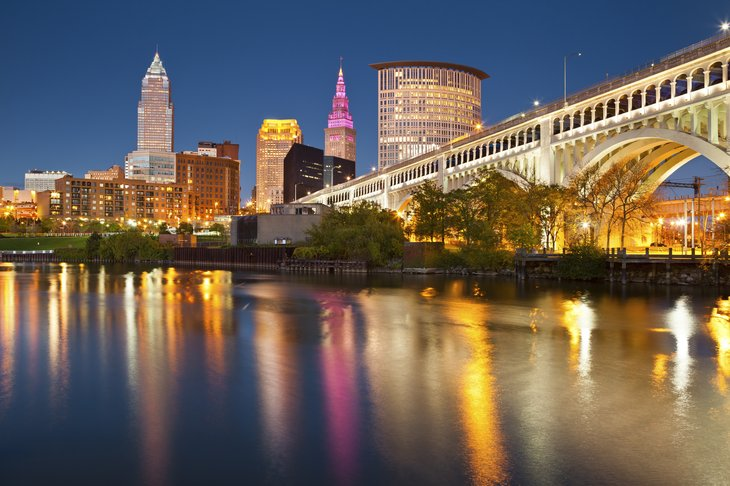 Cleveland, Ohio skyline at dusk.