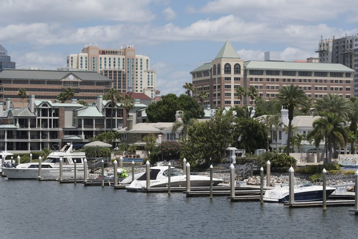 Tampa waterfront homes with boats.