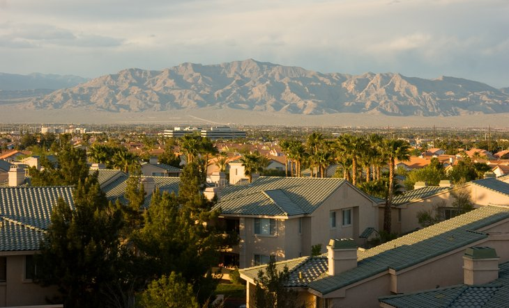 Las Vegas neighborhood with desert hills beyond.