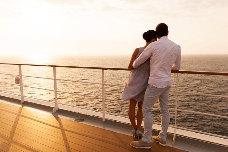 Couple on a cruise ship deck.