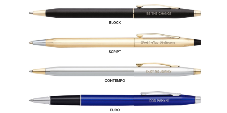 Cross pens with different styles of engraving.