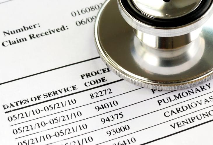 Close up of medical bills.