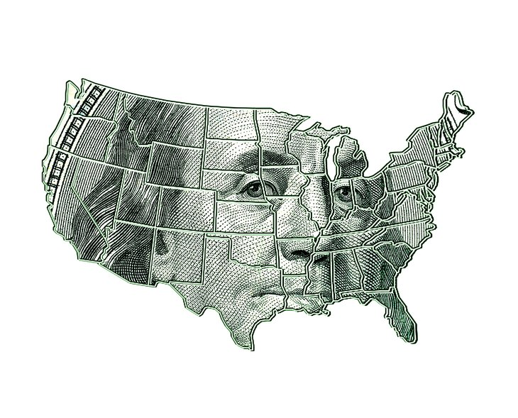 US map with Ben Franklin printed on it.