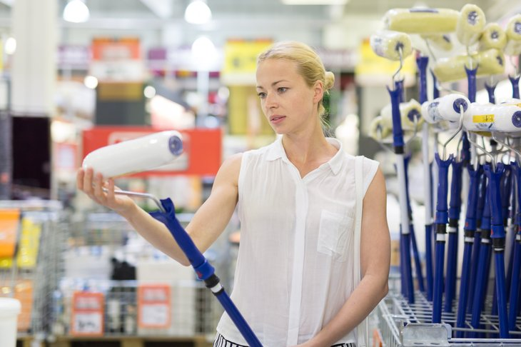 Woman at home improvement store