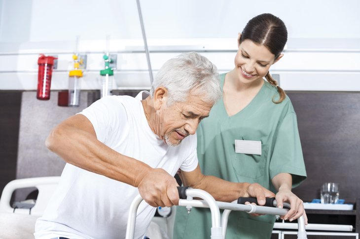 Senior man in long-term care insurance facility