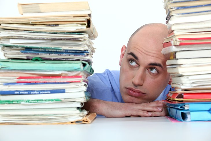 Overflowing with paperwork