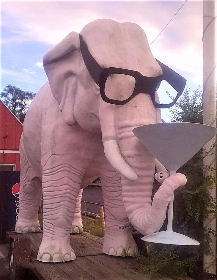 Martini-drinking pink elephant, Fortville