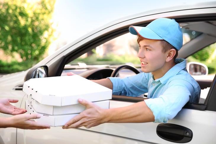 Driver delivering food
