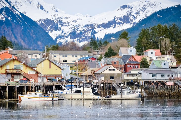 Sitka, Alaska waterfront, mountains in background.