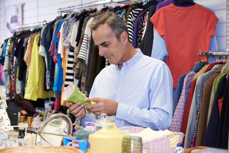 Man in thrift store