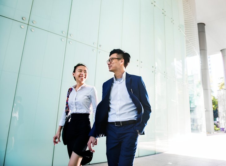 Asian American man woman business walking work