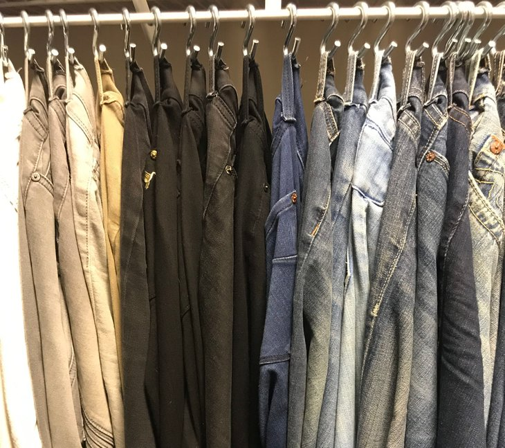 Organizing jeans with S hooks