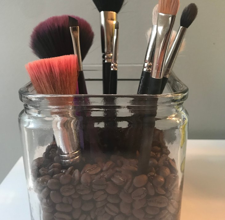 Makeup brushes in a stand