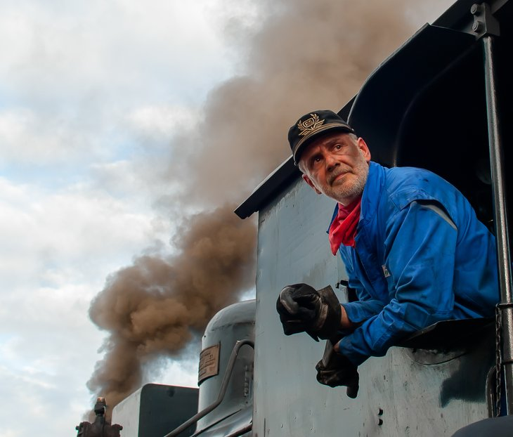 Train worker on locomotive