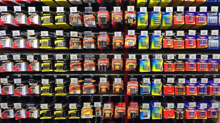 Display of batteries