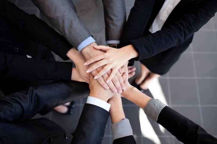 Hands in teamwork