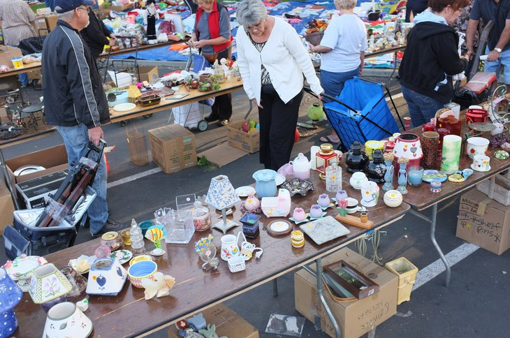 Yard sale or flea market shopping