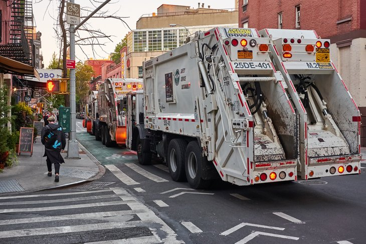 Garbage truck in New York City