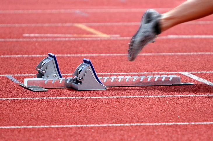 Close up of a sprinter's feet at race start.