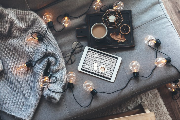 indoor fairy lights coffee tablet sweater interior