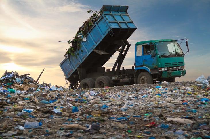Dump truck waste landfill