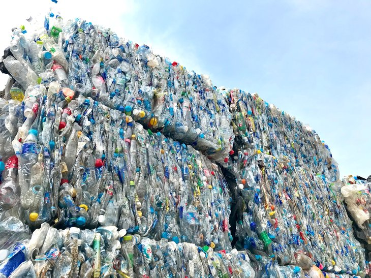 Plastic bottles,compressed into bales recycling