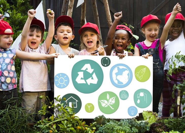 children Kids cheering hardhats environment