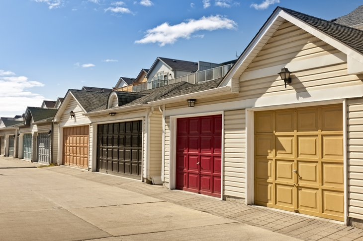 Garage doors on town homes