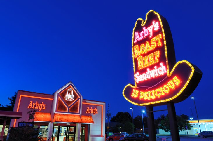 Arby's restaurant at night.