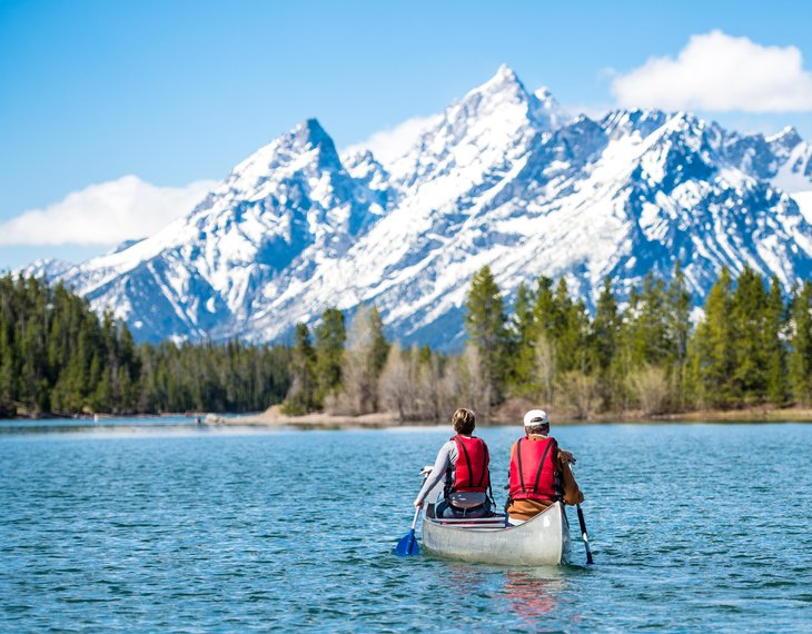 People canoeing in Grand Teton National Park