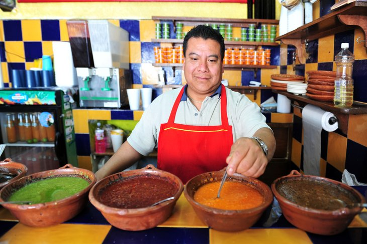 Man cooking in Mexican restuarant