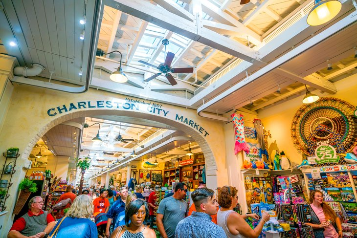 Charleston Market crowded with visitors.
