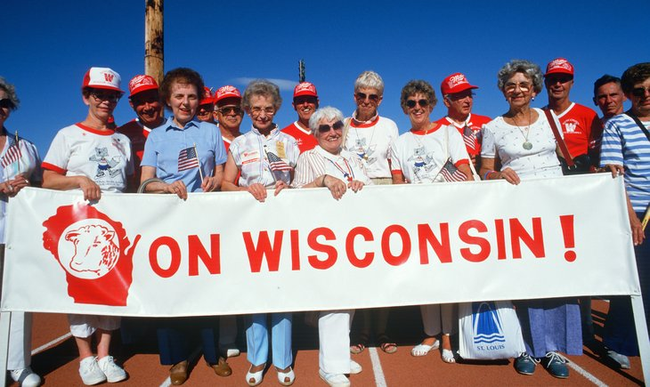 Seniors in Wisconsin with banner