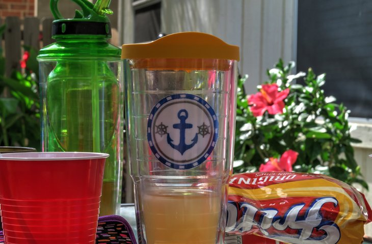 Summer Picnic Barbeque Table Items Including a Frito's Bag and Tervis Drink Glass on an Outdoor Table