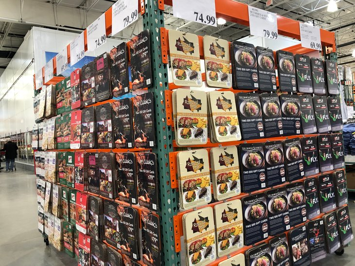Discounted gift cards on display at a Costco