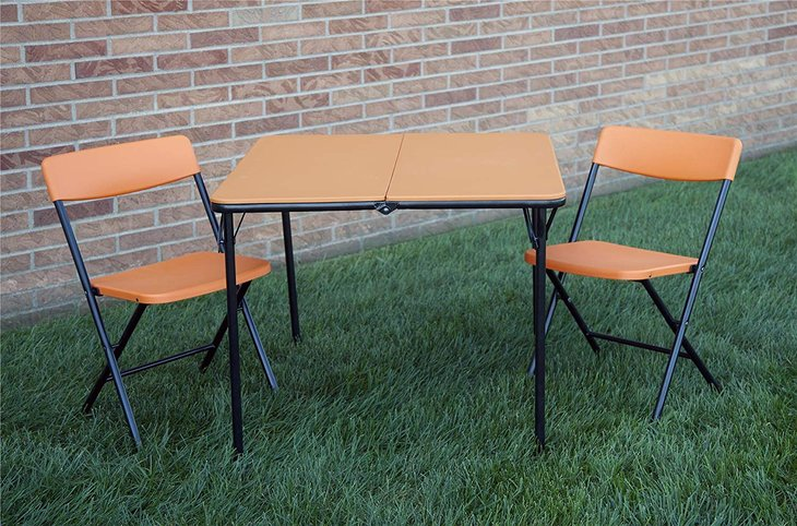 COSCO 3 Piece Indoor Outdoor Center Fold Table and 2 Chairs Tailgate Set