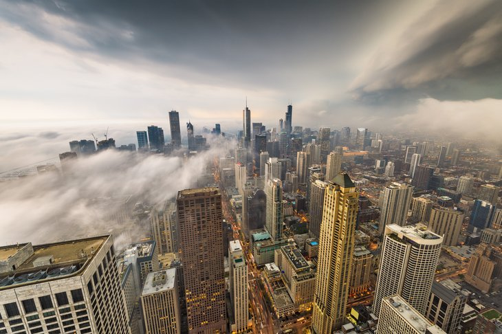 Chicago with clouds