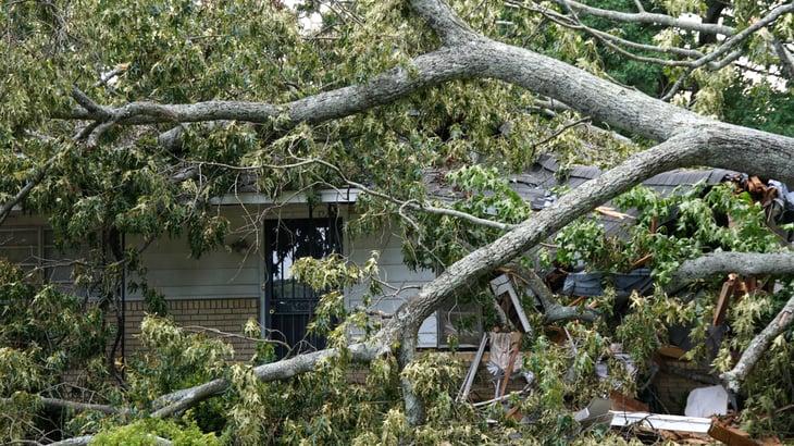 Damaged house in July 2018 storm, Little Rock.