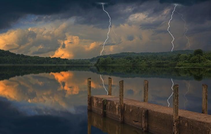 Storm over lake in Ohio