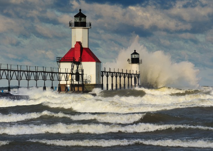Michigan lighthouse with high waves.