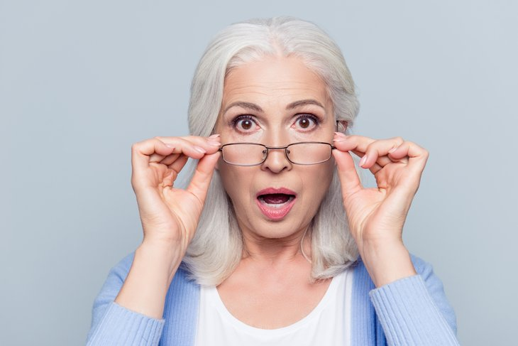 Surprised retired woman