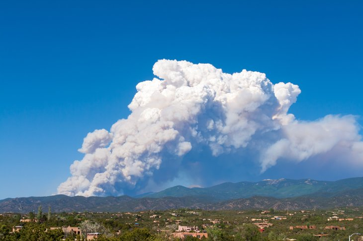 Fires in the mountains in New Mexico