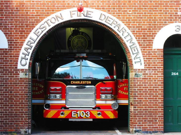 Charleston, South Carolina, USA - August 2015: Fire department in Charleston, South Carolina. A fire truck parked in its garage, ready for emergency calls. No people.