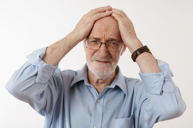 Stressed man in retirement