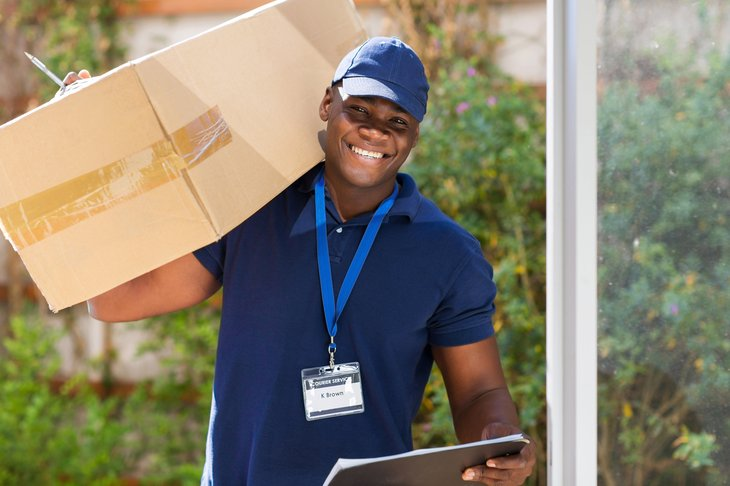 African American delivering package