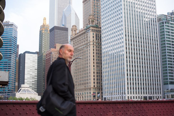 Businessman with Chicago skyline