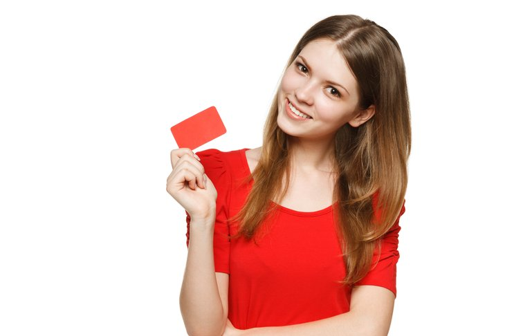 Woman with gift card