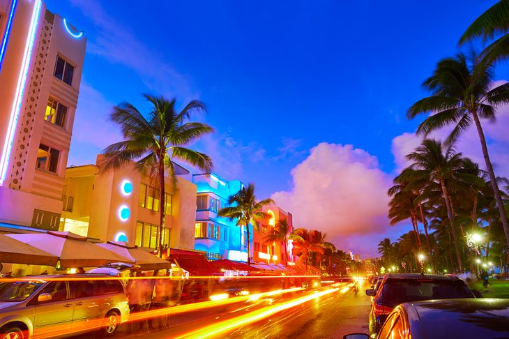 Miami Beach Ocean Drive at dusk