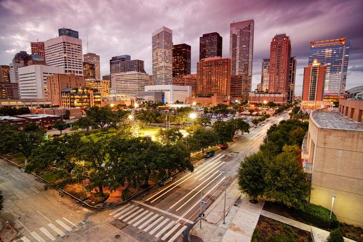 Houston at dusk